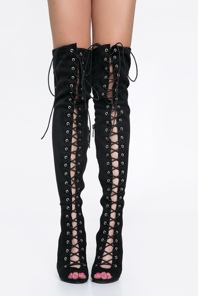 Black Lace Thigh High Boots