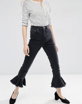 jeans denim asos frayed denim black jeans flare jeans striped shirt