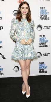 dress,lace dress,pumps,lily collins,mini dress