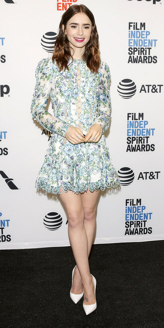 dress lace dress pumps lily collins mini dress
