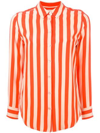 shirt striped shirt women silk yellow orange top