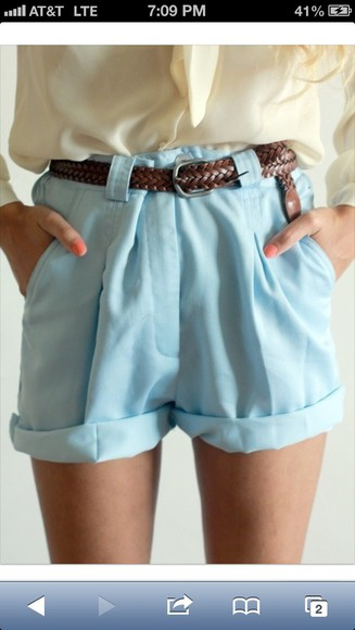 shorts baby blue cute