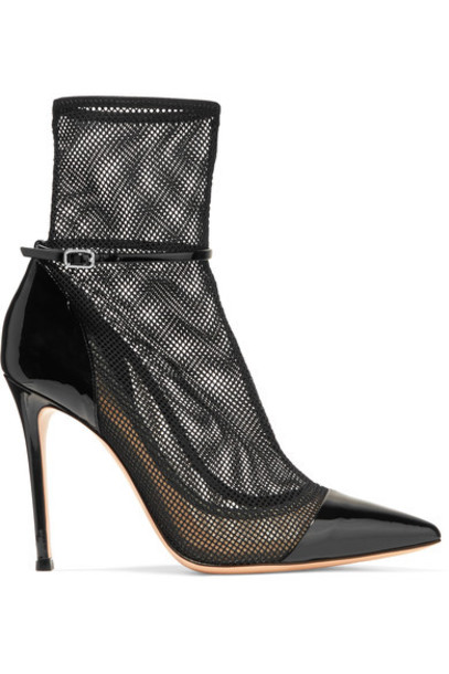 Gianvito Rossi leather ankle boots mesh ankle boots leather black shoes