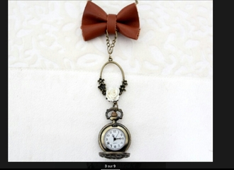 jewels necklace roses rose vintage retro montre watch burgundy bows sautoir bow necklace