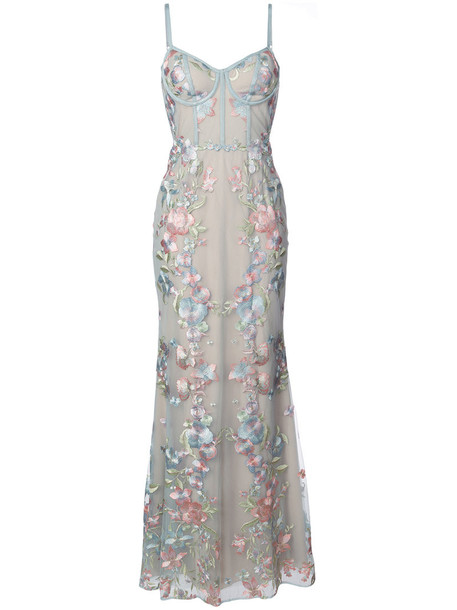 Marchesa Notte gown embroidered women floral blue dress