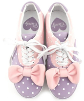 shoes,kawaii,lolita,fairy kei,candy,japan,bows,cute,japanese,pastel,purple,pink,polka dots,style,purple and pink with a bow