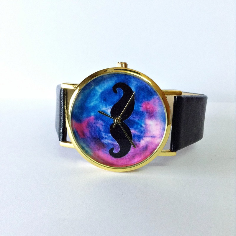 Moustache Watch, Galaxy watch, Vintage Style Watch, Victorian, Leather Watch, Women's watch, Men's watch