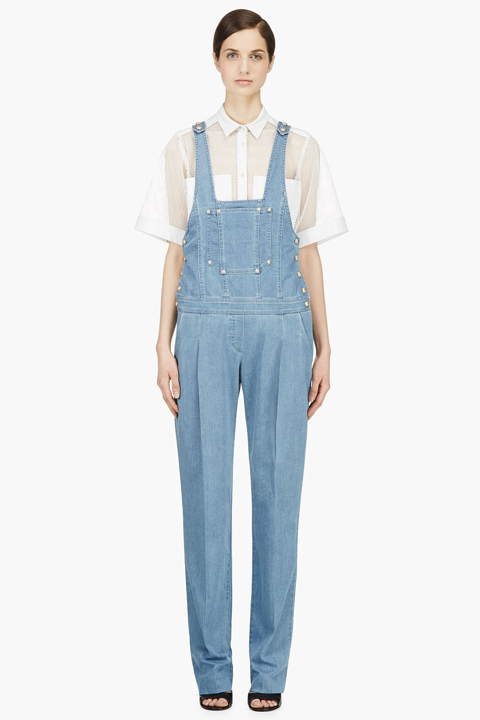 balmain blue and gold buttoned denim overalls