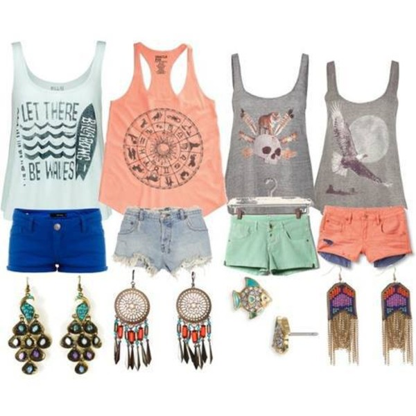 shirt tank top t-shirt top jewels shorts