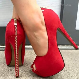 shoes red high heels red heelsr red high heels heels red shoes red heels zip zipper heels