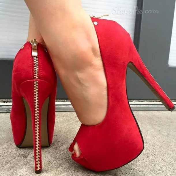 Shoes: red, high heels, red heelsr, red high heels, heels, red ...