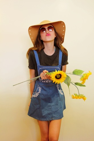 dress clothes pretty denim vintage cute flowers tumblr hat