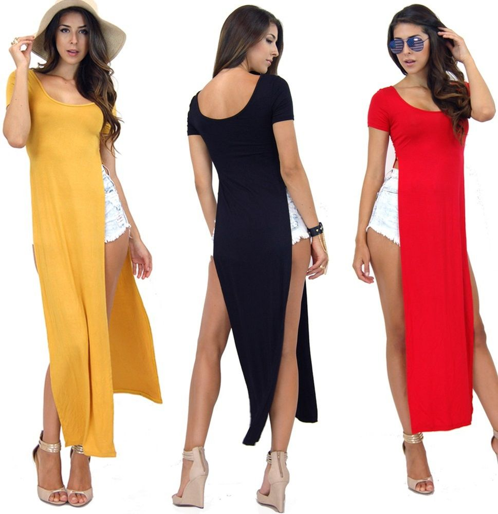 Candy Color Round Neck Celebrity Casual Side Slits Long Top Maxi 11007 Dress | eBay