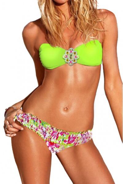 KCLOTH Neon Green Floral Panel Fluorescent Self-tie Bikini