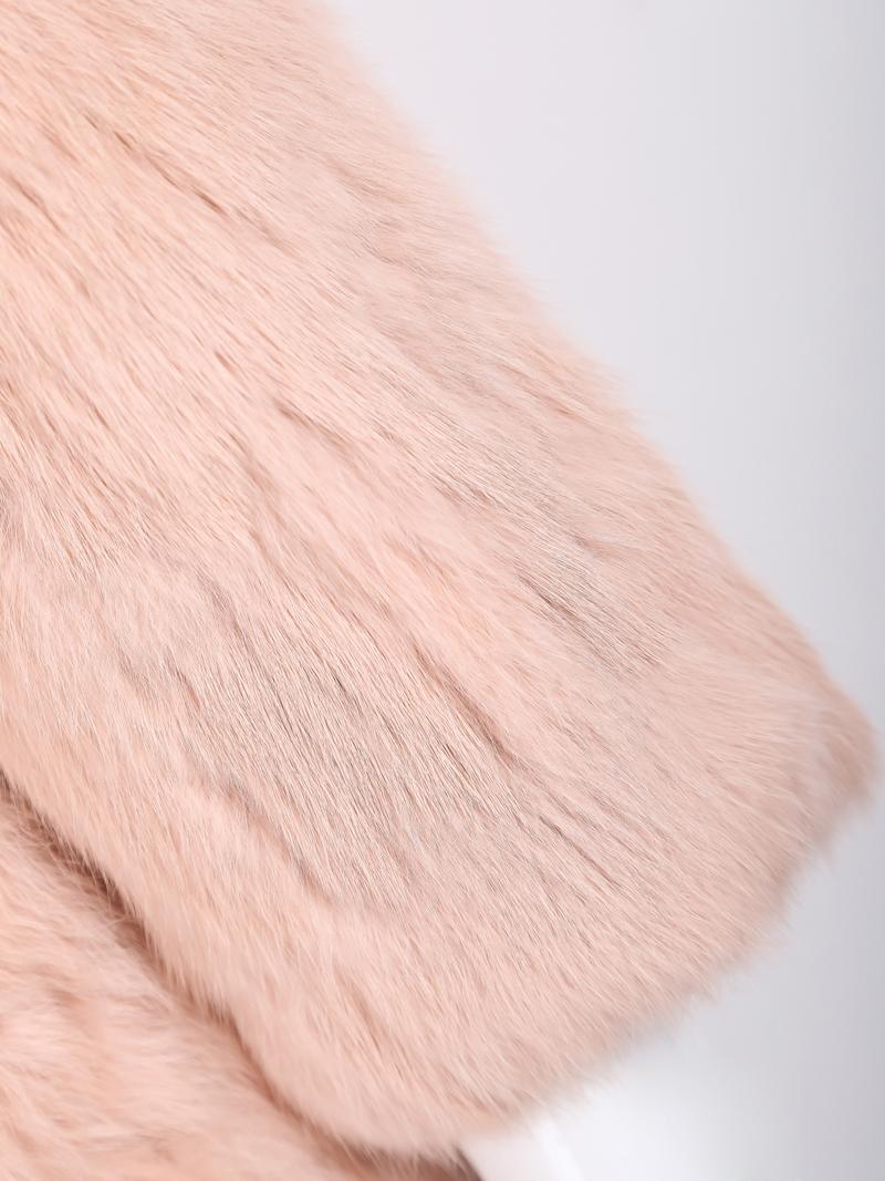 Abrigo largo pelaje sintético cuello redondo-Rosado
