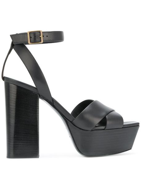 Saint Laurent cross women sandals leather black shoes