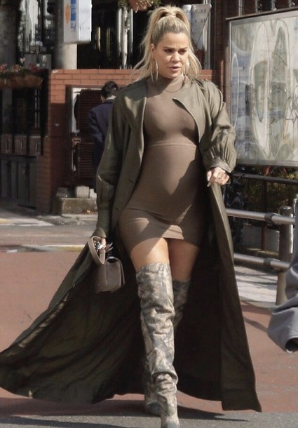 dress bodycon dress mini dress boots coat khloe kardashian kardashians maternity streetstyle spring outfits brown