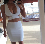 top,crop tops,white crop tops,cleavage,dress,white dress,two-piece,two piece dress set,bodycon dress,bodycon two piece,bodycon,white,bustier,sexy dress,deep v,criss cross,tight white dress,cute,iwantthis,classy,sexy