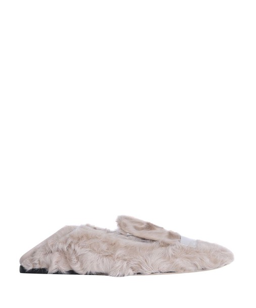 Sergio Rossi fur loafers beige shoes