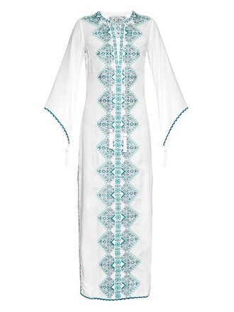 dress embroidered white print