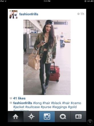 jacket camo jacket glitter sparkle fly cute celebrity clothes blogger suitcase