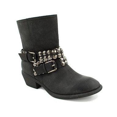 Black transit stud detail western ankle boot