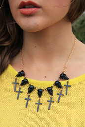 jewels,skull,cross,necklace,goth,grunge,90s style