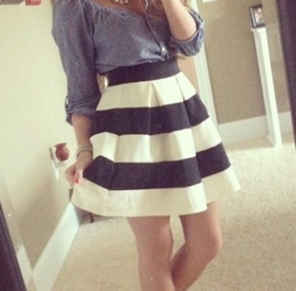 shirt black and white color block skirt