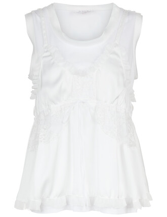 tank top top lace white white lace