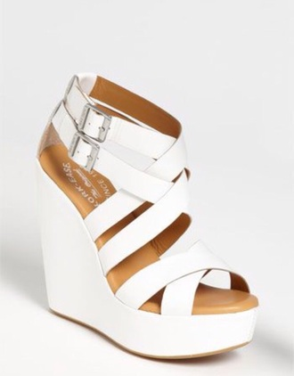 shoes white wedges