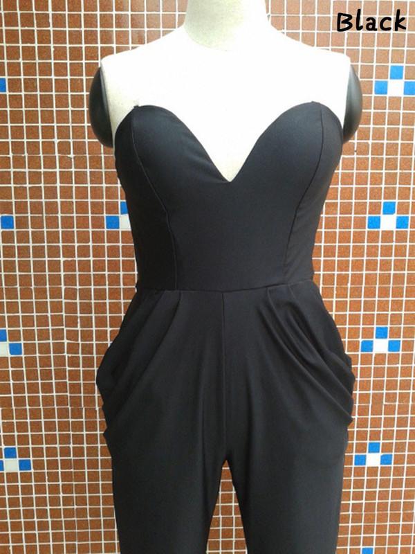 jumpsuit romper black long jumpsuit sleeveless v neck bodycon jumpsuit pants clubwear pants tight bottoms