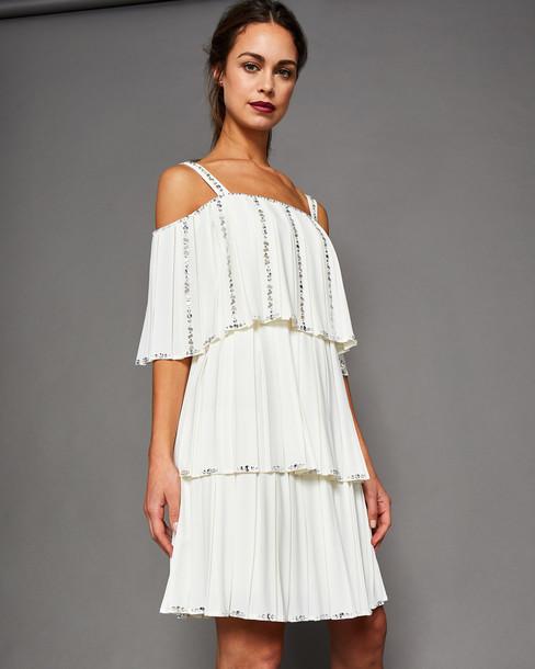 Ted Baker dress pleated embellished