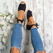 shoes,sandals,flat sandals,cork,bow,black sandals,black flats,white sole,ankle strap,cute flat,cute sandals