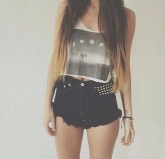 shorts black high waisted shorts shirt
