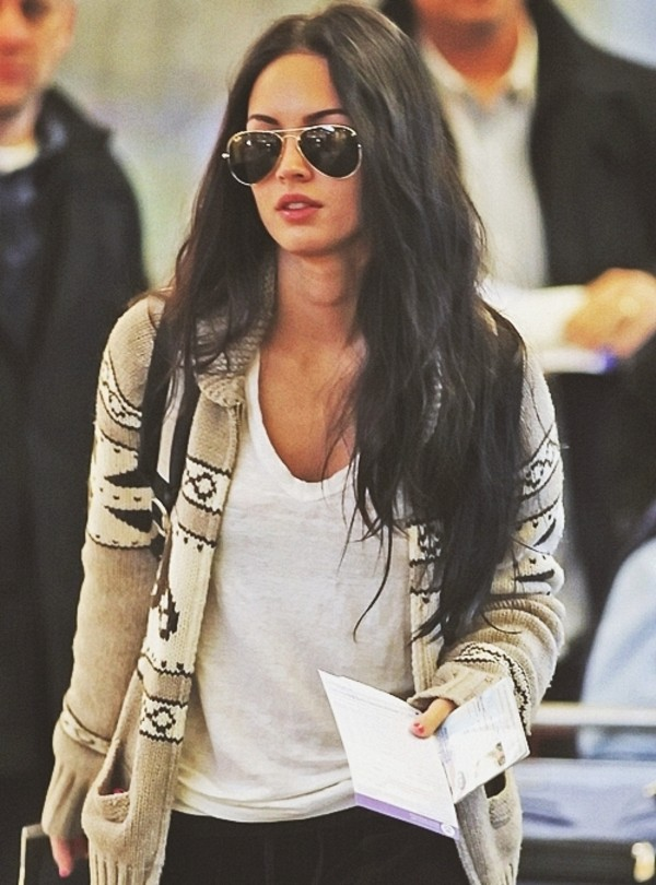jacket vest megan fox clothes celebrity laine sweater bag