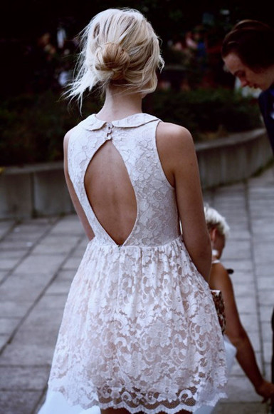 dress cut out dress lace dress cute white pretty studded collar blouse