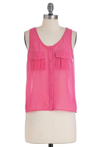 Pink Positively Top   Mod Retro Vintage Short Sleeve Shirts   ModCloth.com