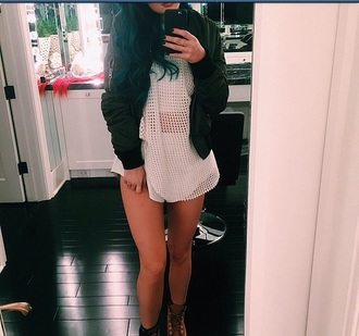 kyliejennerfashion kylie jenner kylie jenner dress mesh top mesh dress white dress oversized oversized t-shirt