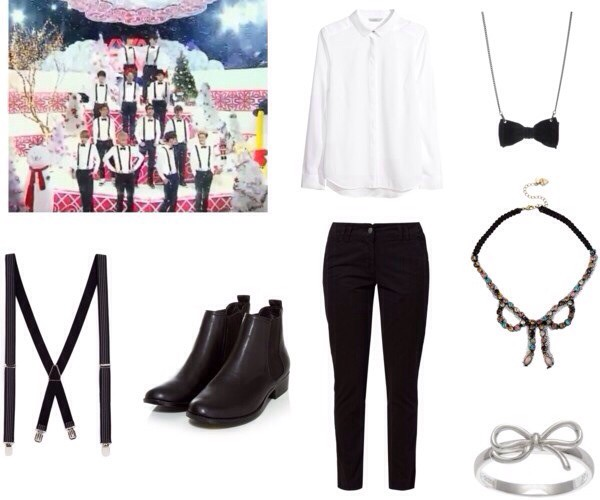 shoes white blouse suspenders