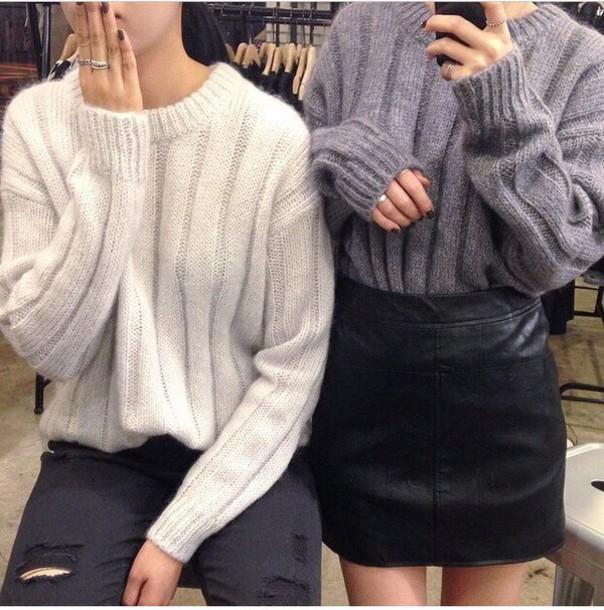 sweater jumper oversized grey black cute love oversized sweater black sweater skirt leather black