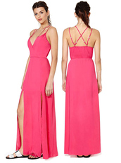 dress,bqueen,red,fashion,girl,long dress,sexy,chic,party,pink,halter neck,deep v,slit
