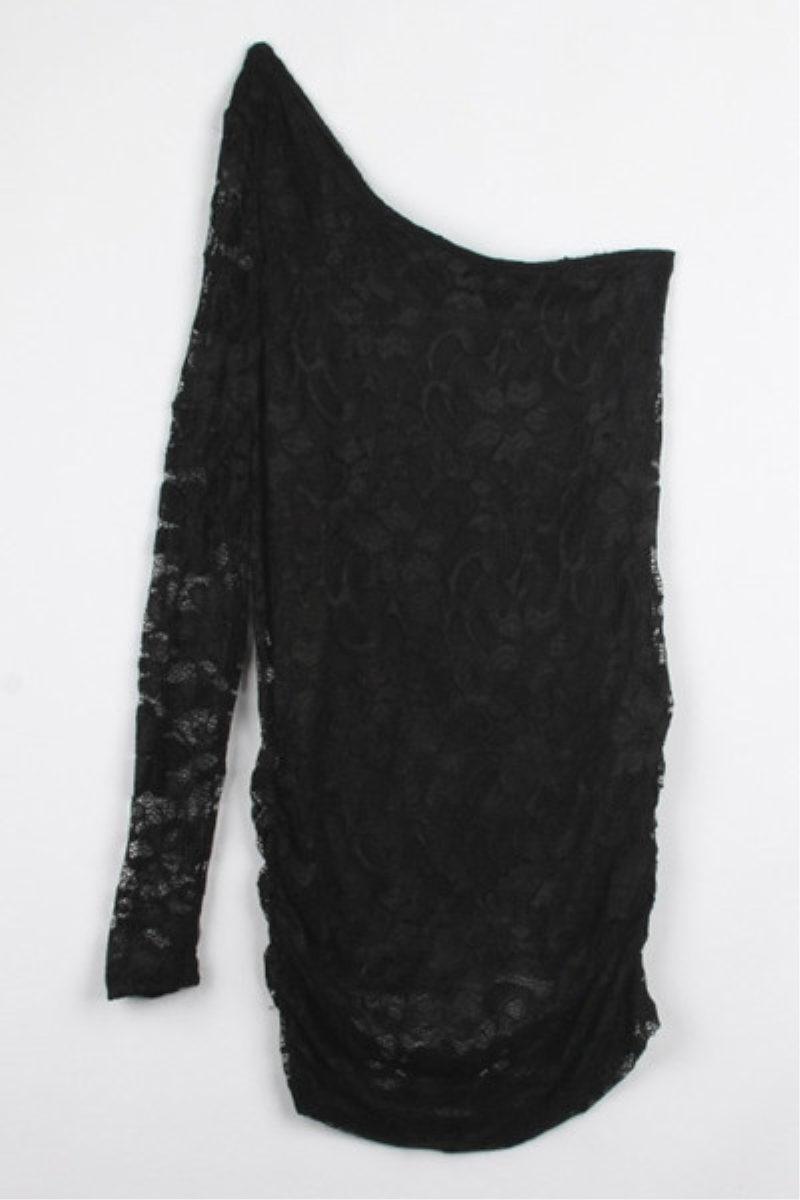 Black One Shoulder Long Sleeve Lace One-piece Dress,Cheap in Wendybox.com