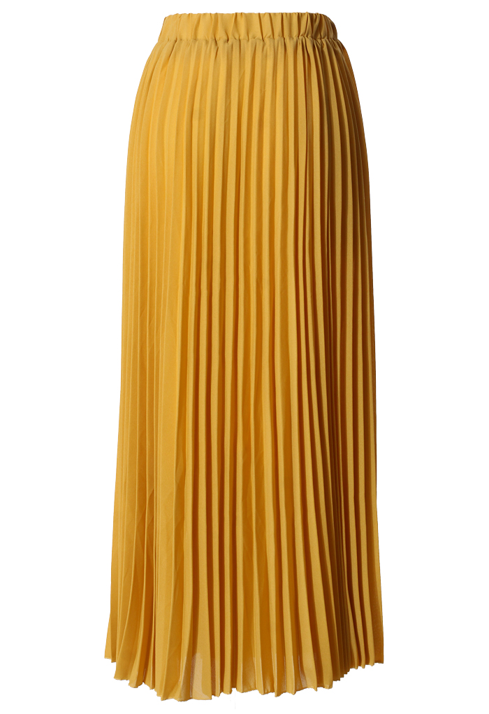 Chiffon Mustard Pleated Maxi Skirt Retro Indie And