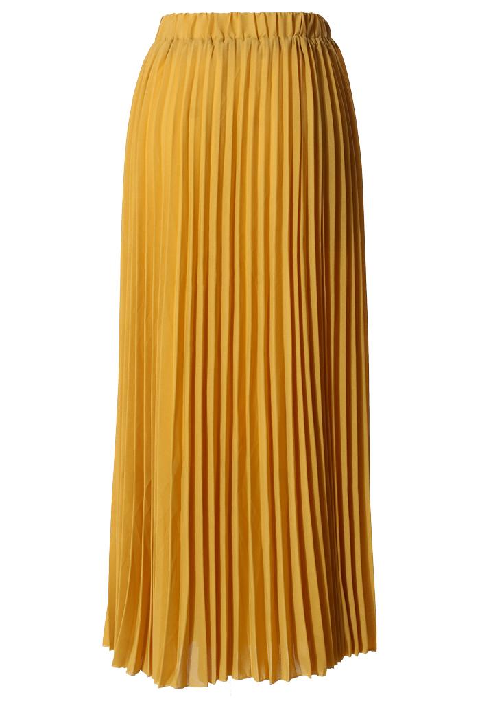 chiffon mustard pleated maxi skirt retro and