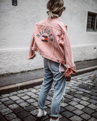 jeans tumblr blue jeans denim jacket pink jacket denim jacket tommy hilfiger