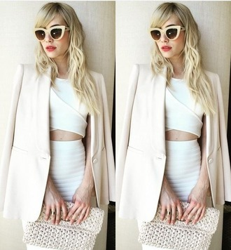 top skirt sunglasses emma roberts classy beige cat eye two-piece