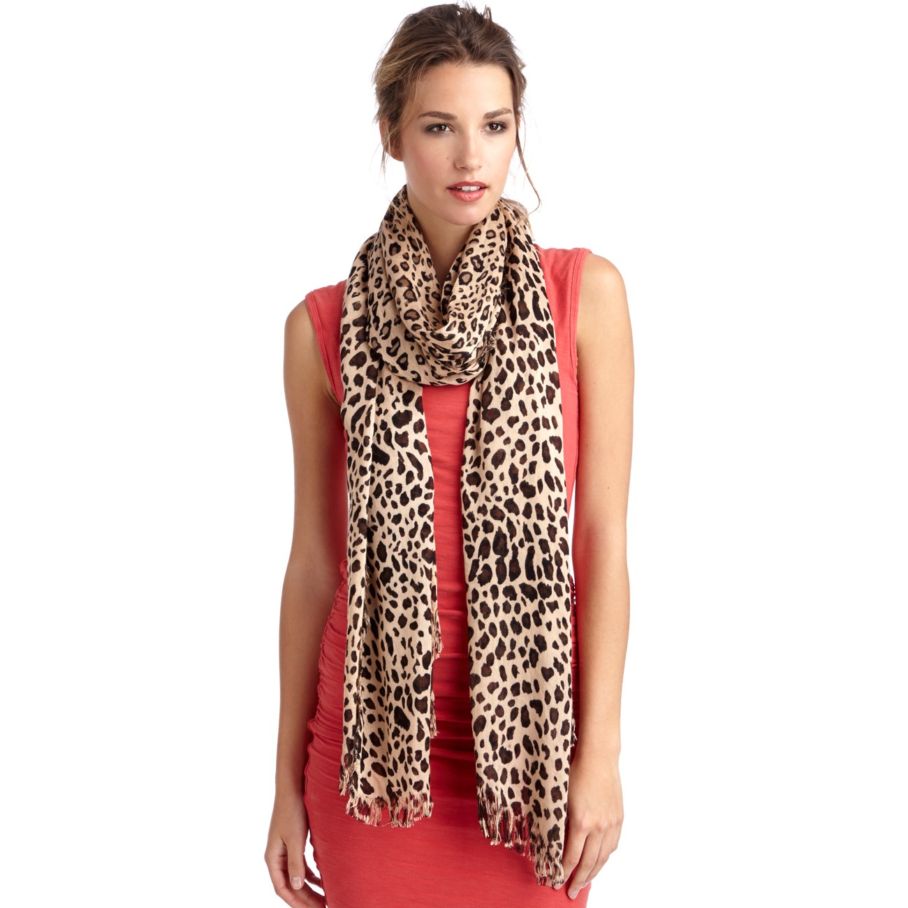 Leopard print oversized scarf