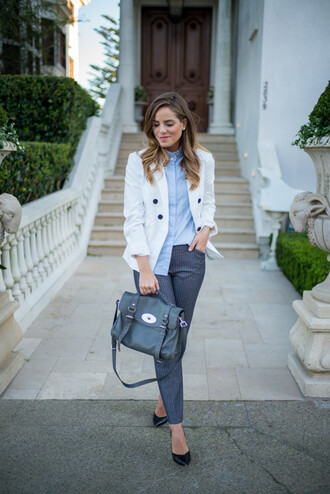 gal meets glam blogger jacket pants mulberry satchel bag blue shirt shirt bag shoes