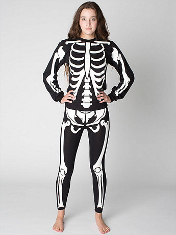 Unisex Glow Skeleton Cotton Spandex Jersey Legging | American Apparel