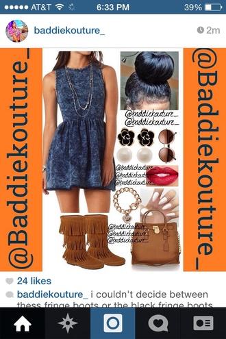 cute dress fall outfits denim denim dress moccasins